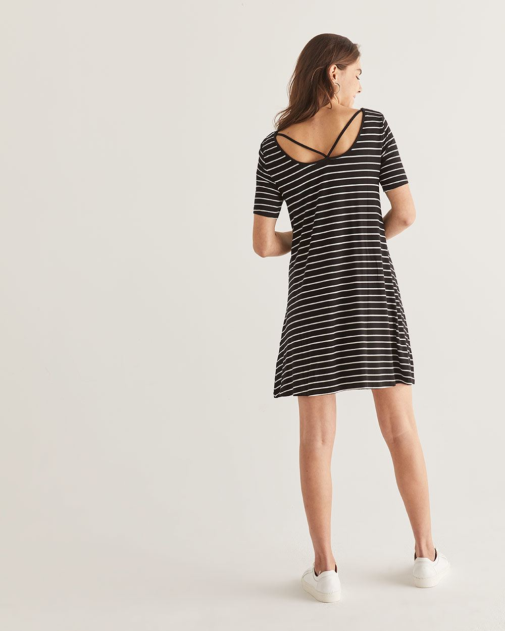 Reversible Stripe Swing Dress - Petite