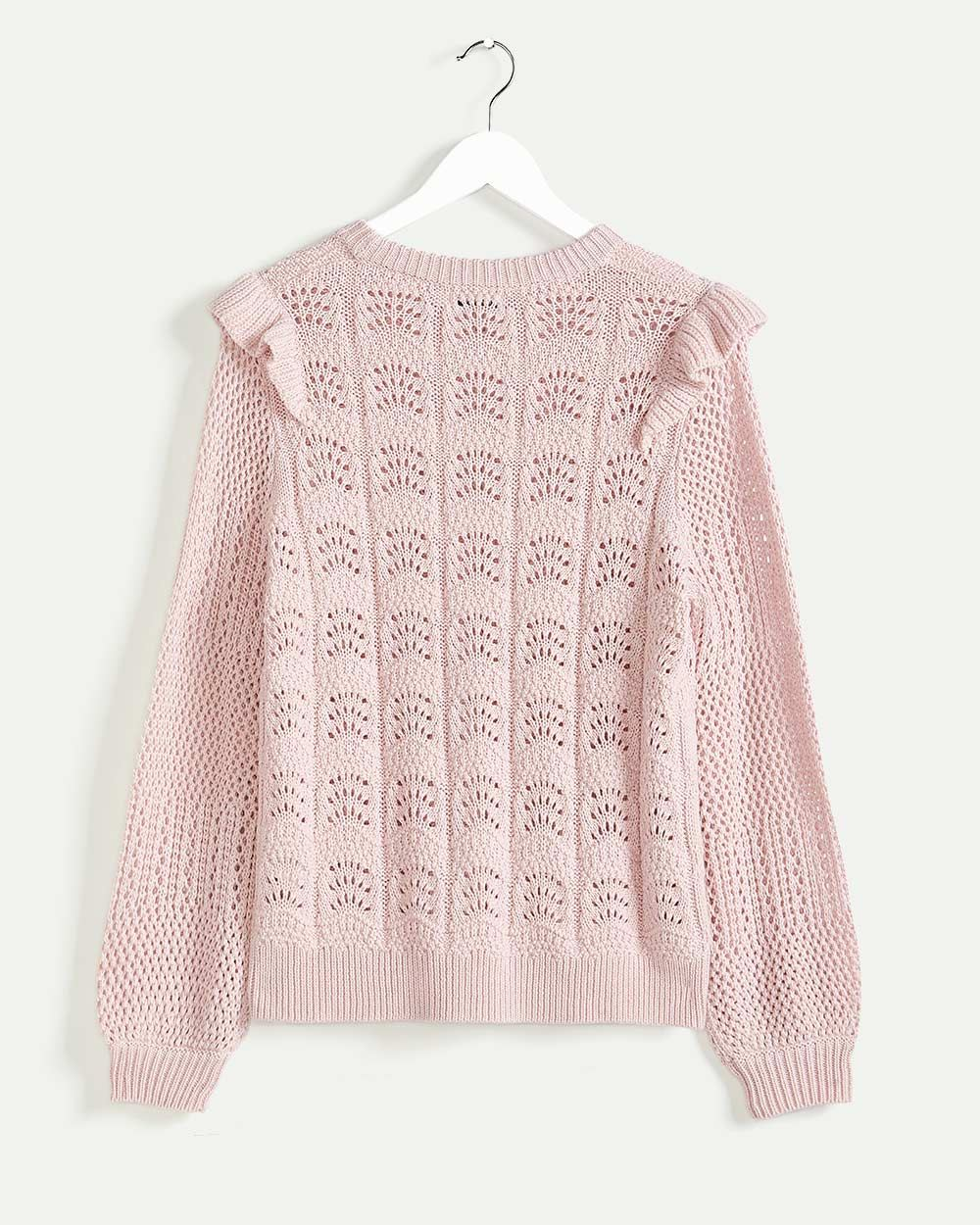 Long Sleeve Pointelle Sweater with Ruffles