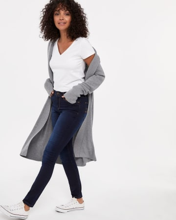 Open Duster Cardigan with High Neck