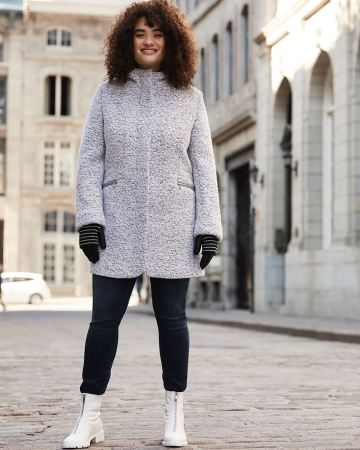 Hooded Boucle Coat