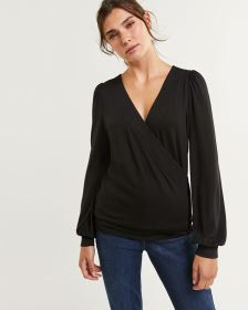 Long Puffed Sleeve Wrap V-Neck Top - Petite
