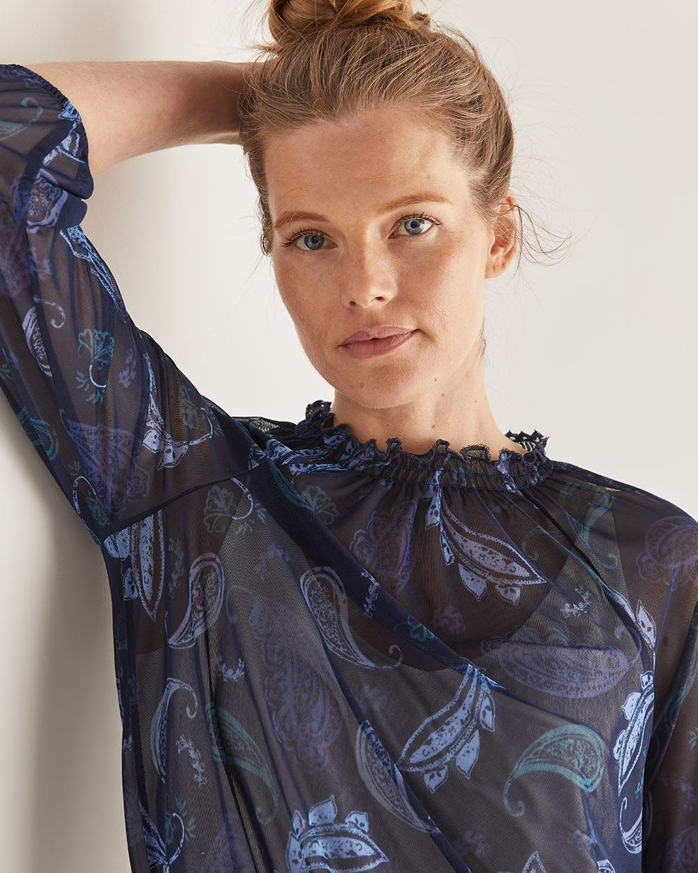Smocking Printed Blouse with Bubble Sleeves
