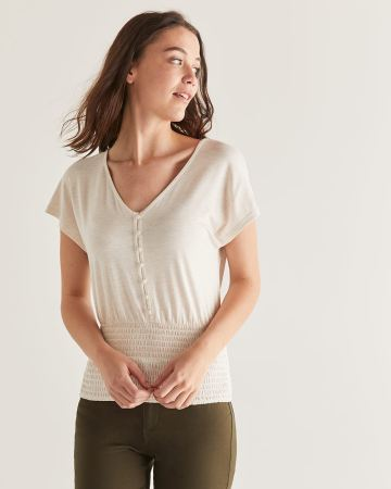 Button Front Top with Smocking