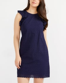 Eyelet Dress with Ruffles at Shoulders