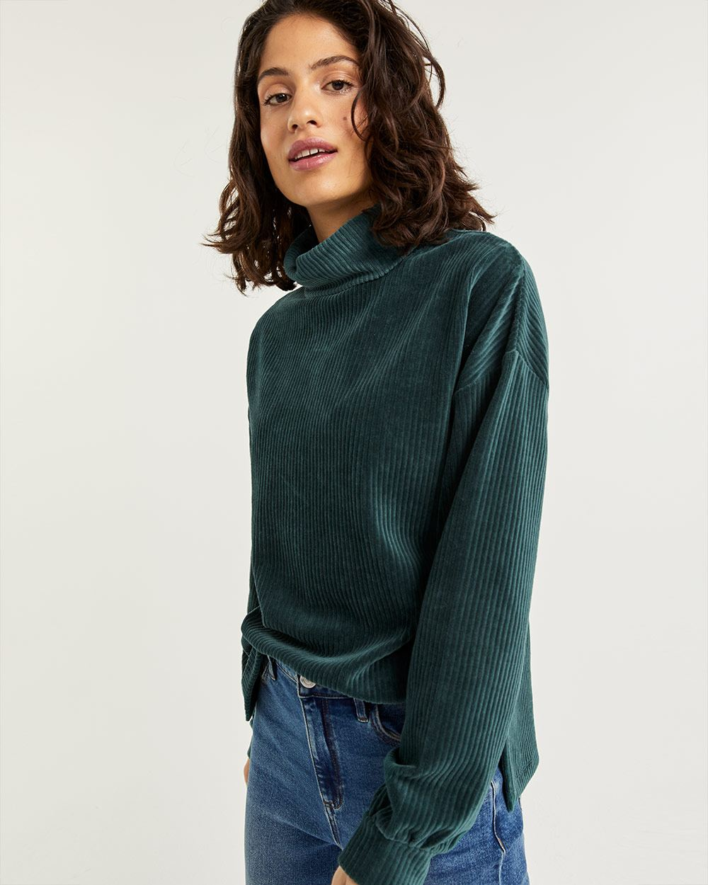 Corduroy Long Sleeve Tee with Turtleneck