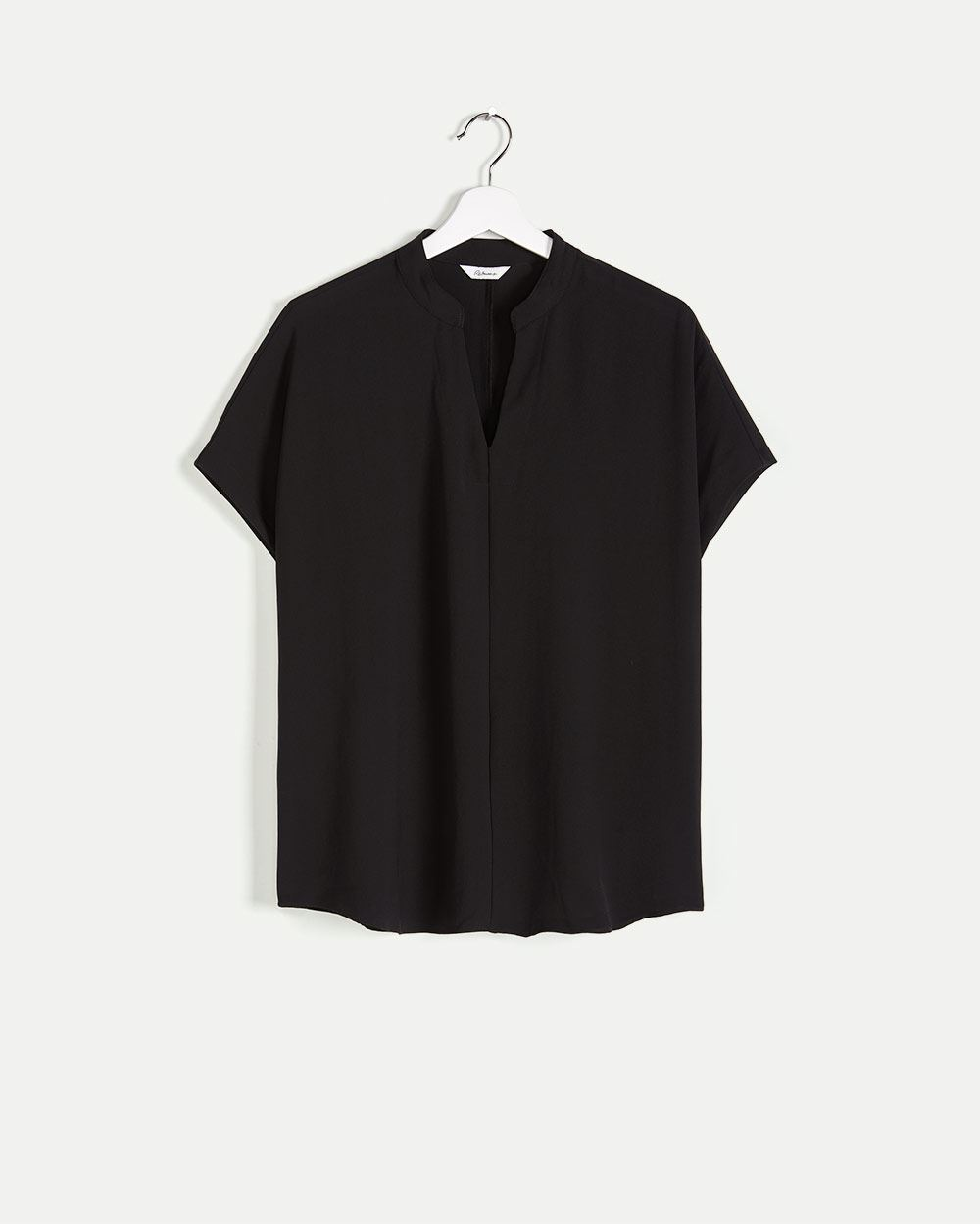 Short Sleeve Split Neck Blouse