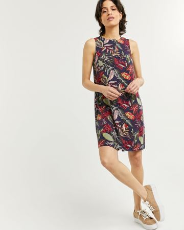 Sleeveless Printed Swing Dress with Buttons at Neck