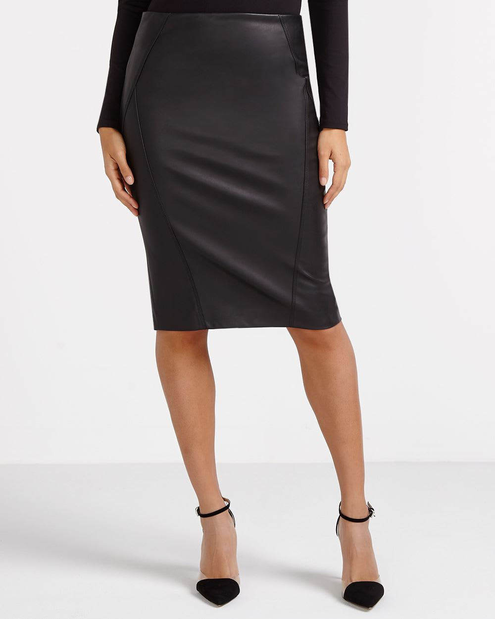268fe3774040 The Faux Leather Skirt by Meghan Markle