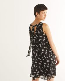 Sleeveless Back Tie Printed Dress