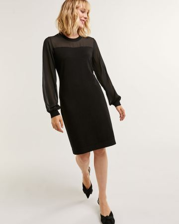 Long Puff Sleeve Mix Media Dress