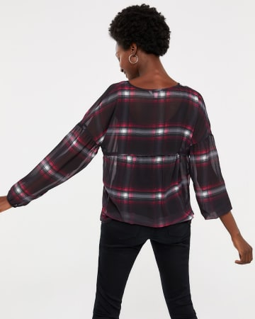 Chiffon Plaid Top