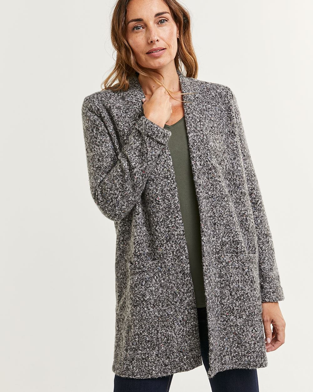 Boucle Coatigan with Patch Pockets