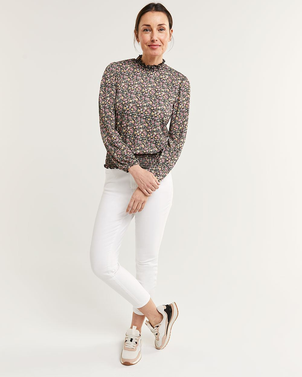 Long Bubble Sleeve Mock Neck Top