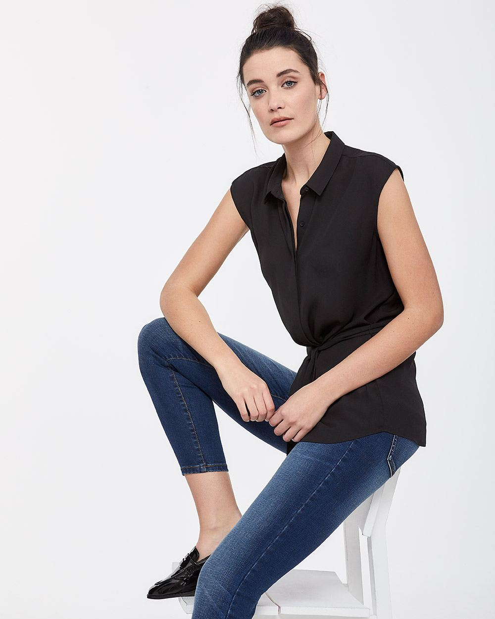Cap Sleeve Blouse with Tie