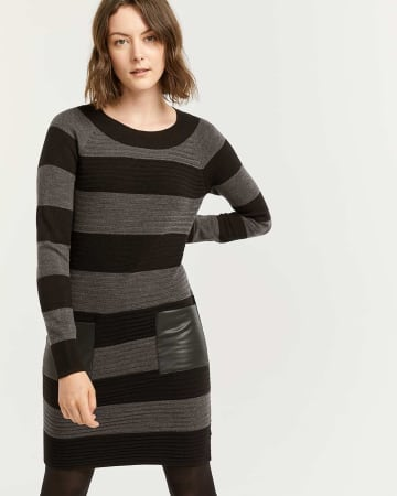 Striped Bodycon Sweater Dress with Pockets