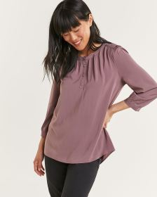 3/4 Balloon Sleeve Solid Blouse