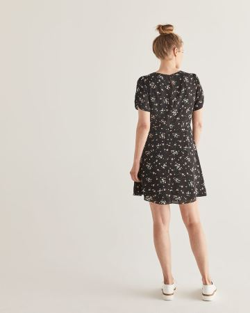 Printed Fit & Flare Dress with Shirring