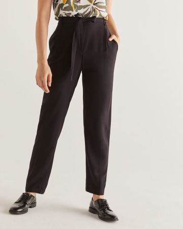 Slim Black Ankle Pants with Sash - Petite