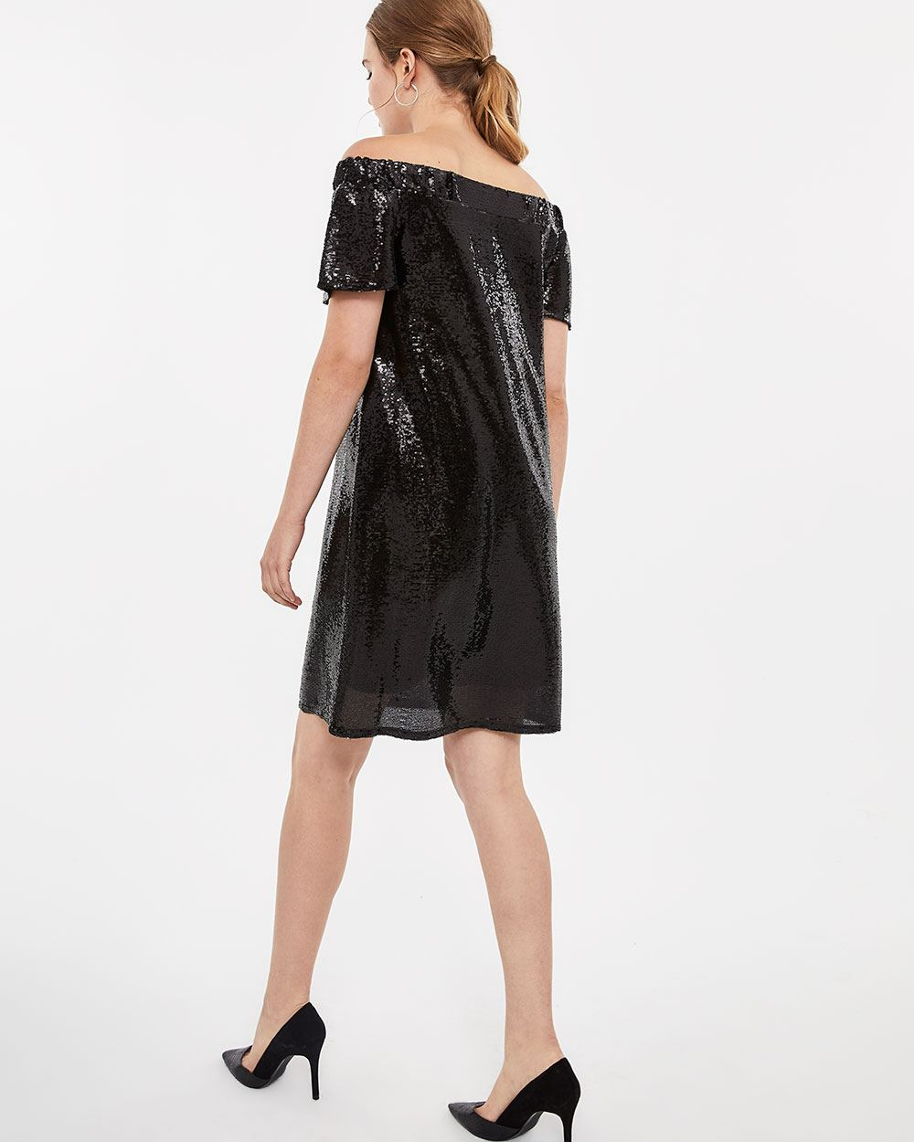 Off-the-shoulder Sequin Dress