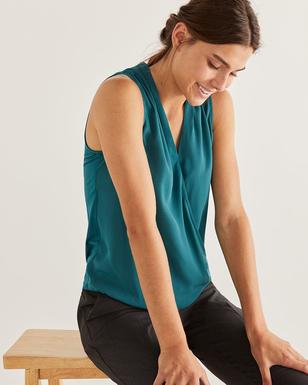 Mix Media Sleeveless Wrap Top - Petite