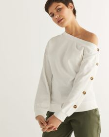 One-Shoulder Sweatshirt with Buttoned Sleeve - Petite