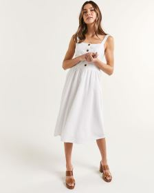 Henley Neck Midi Dress With Smocking Detail