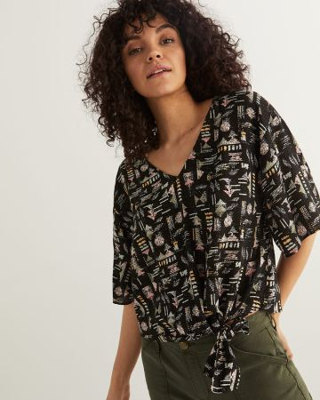 Front Side Tie Printed Blouse