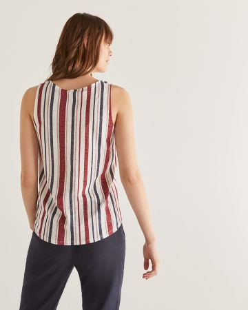 Cotton & Linen-Blend Printed Tank Top with Buttons