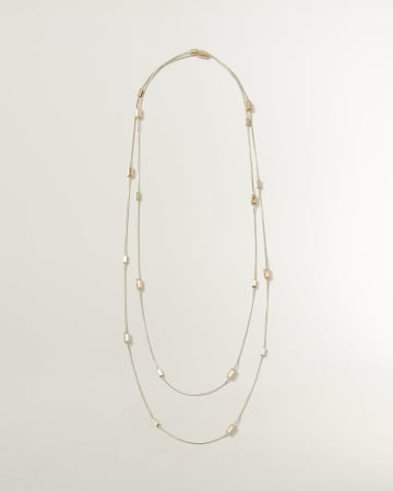 Double Layer Necklace with Rectangular Stones
