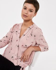 ¾ Sleeve Printed Wrap Blouse