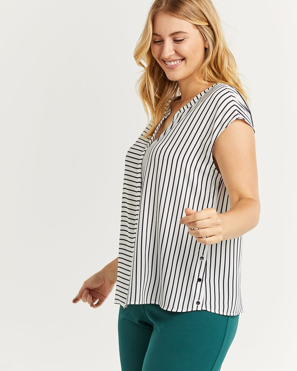 Split Neck Short Sleeve Striped Blouse