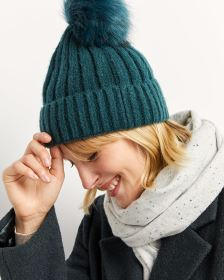 Knit Hat with Fur Pompom