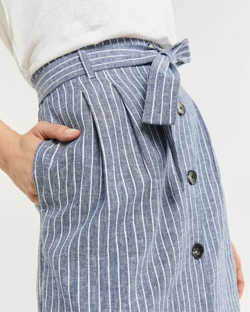 Linen & Cotton Blend Striped High Waist Skirt
