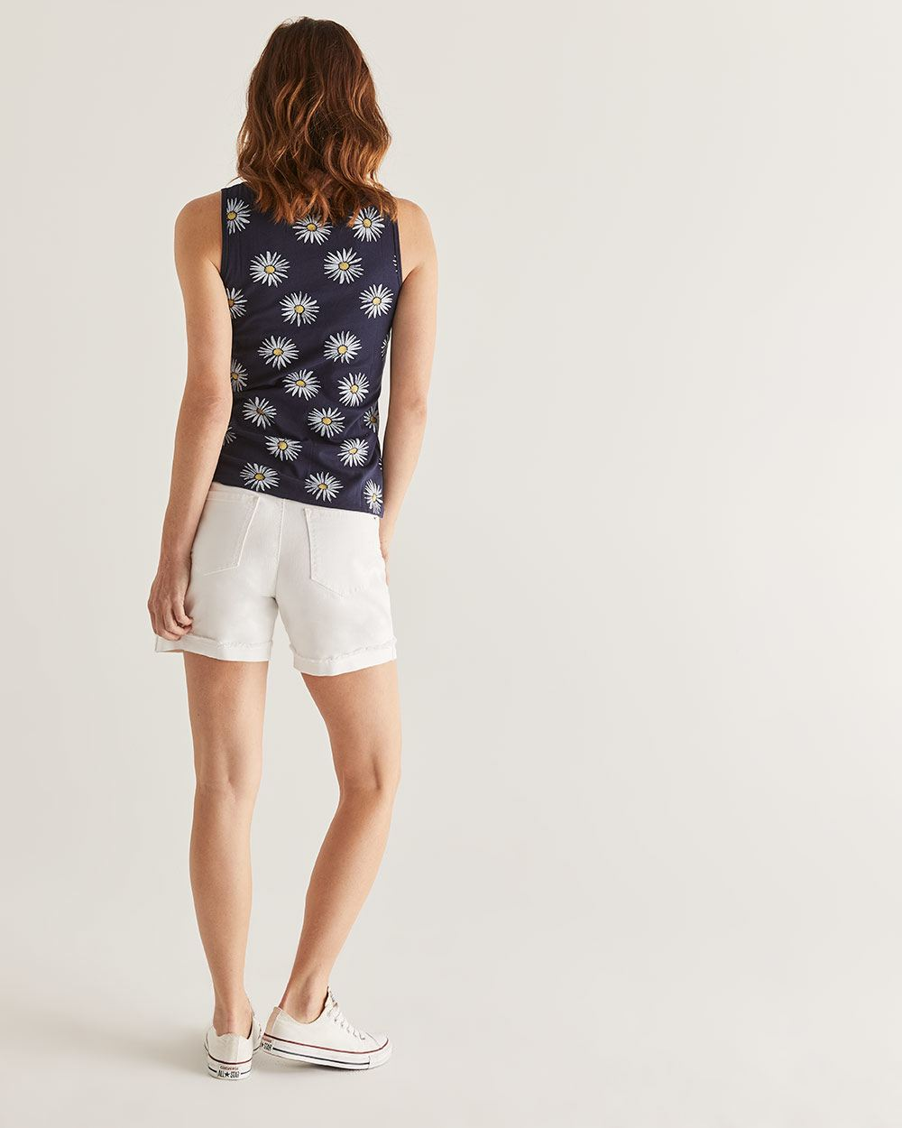 R Essential Cotton Printed Tank Top