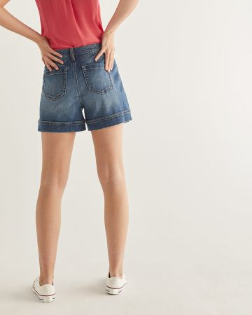 Wide Cuff Denim Shorts