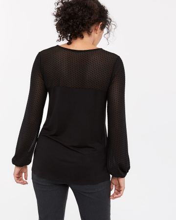 Mesh and Lace Long Sleeve Top