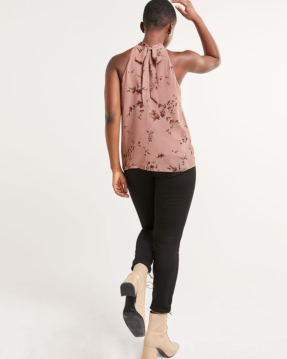 Sleeveless Halter Printed Blouse