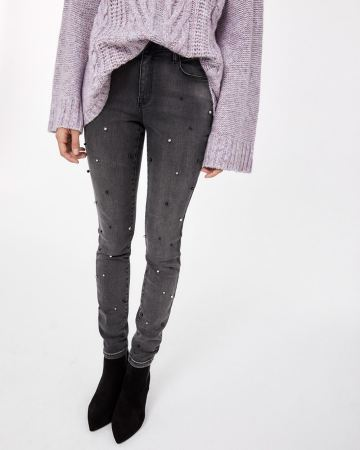 Grey Wash Skinny Jeans with Pearls