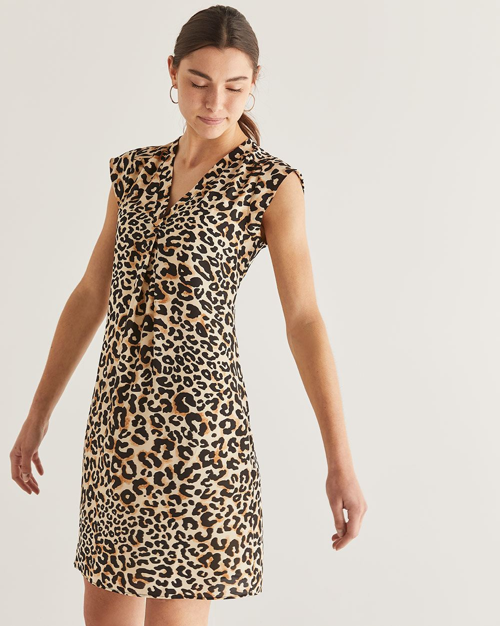 9f2b5bb28a97 Leopard Print Shift Dress with Pleats | Regular | Reitmans