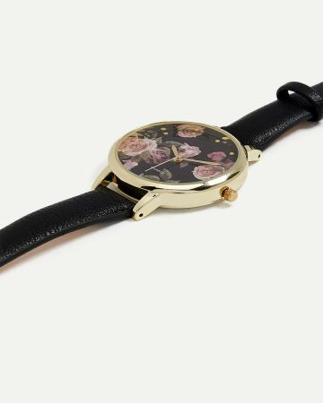 Rose Print Faux Leather Wristband Watch