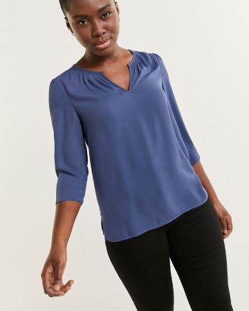 3/4 Sleeve Split Neck Blouse