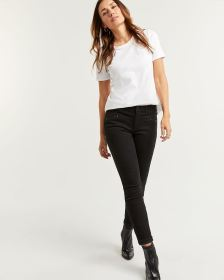 Black Skinny Jeans with Zip Details - Tall