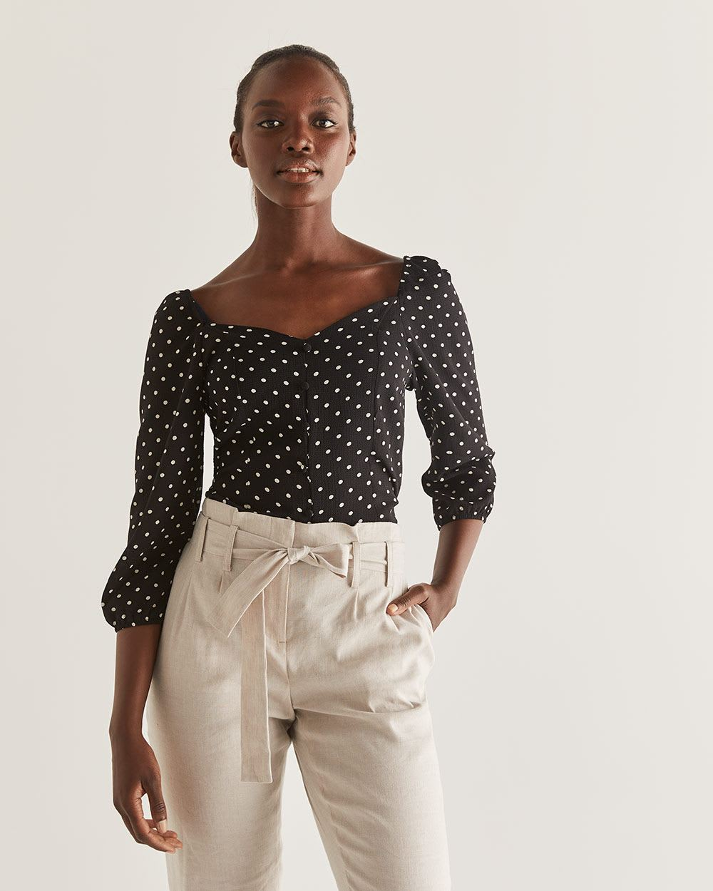 Polka Dot Bustier Style Blouse