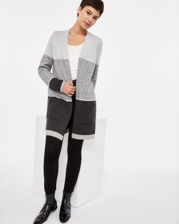 Colourblock Open Cardigan