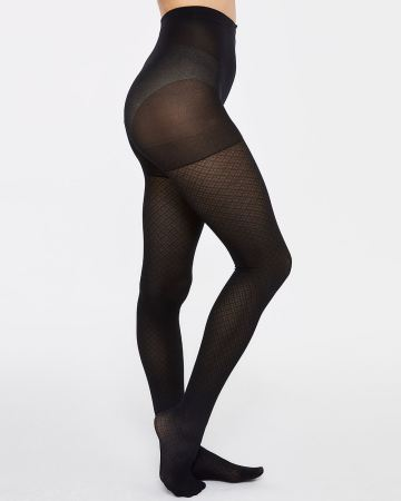 Rhombus-patterned Tights