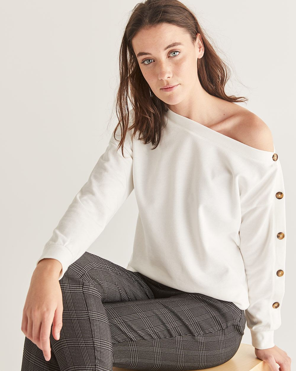 One-Shoulder French Terry Sweatshirt