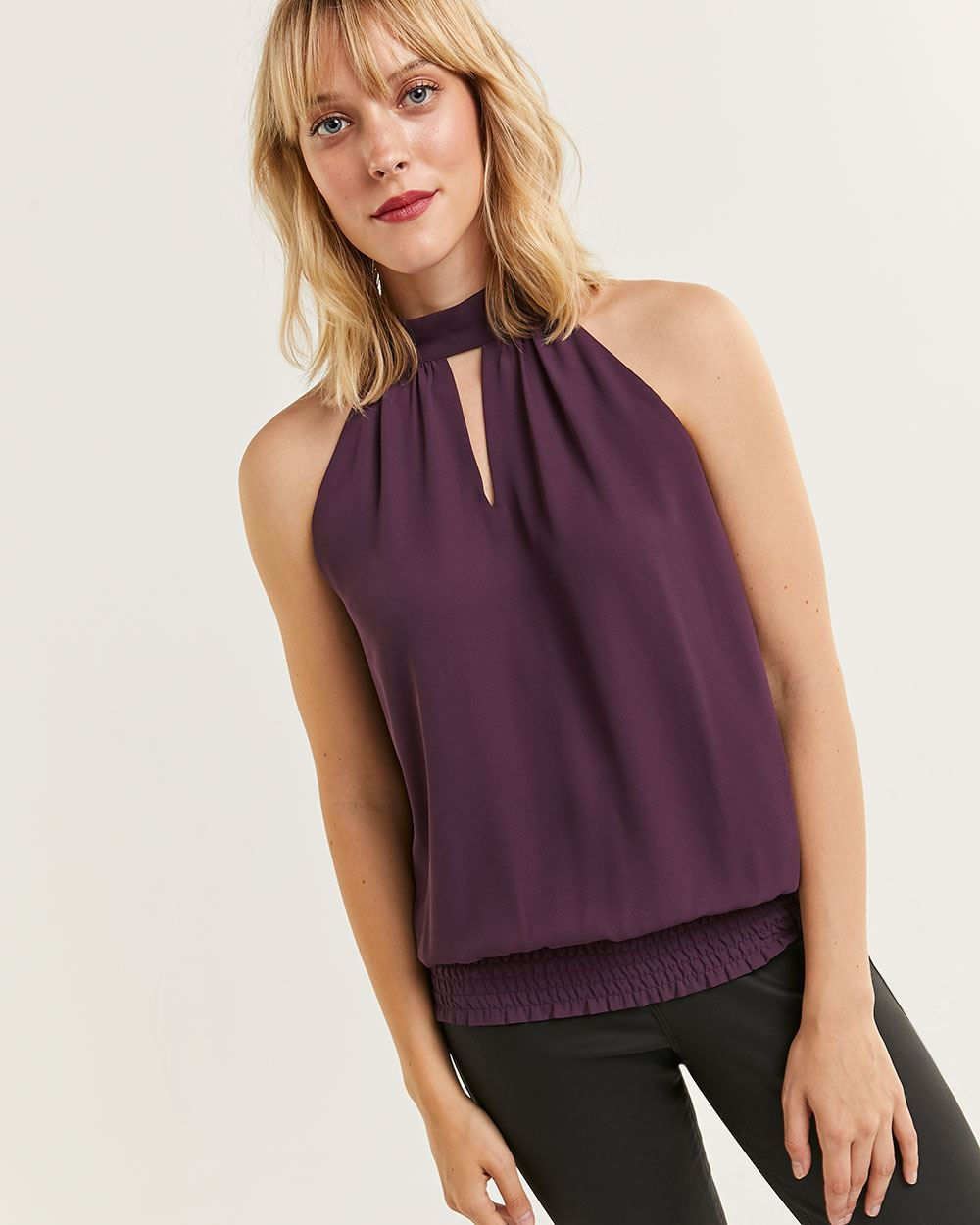 Sleeveless Mock Neck Halter Blouse