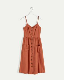 Linen Blend Buttoned-Down Dress with Pockets
