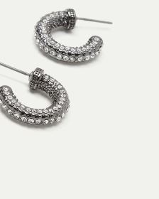 Rhinestone Mini Hoop Earrings