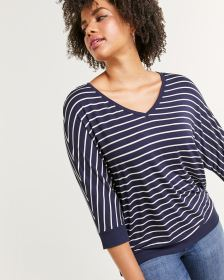 3/4 Sleeve Striped V-Neck Tee